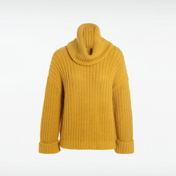 Pull col cheminée femme JAUNE OR