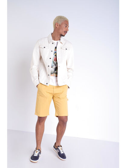 Bermuda droit a 4 poches jaune moutarde homme