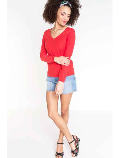 pull femme maille moulinee ajouree rouge clair
