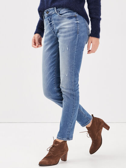 Jeans girlfriend taille haute denim stone femme