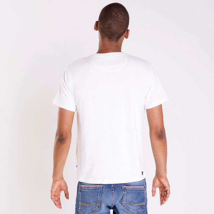 T-shirt col rond homme broderies BLANC