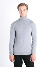 Pull manches longues col roule gris fonce homme