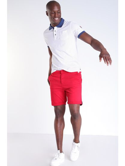 Short chino uni rouge homme