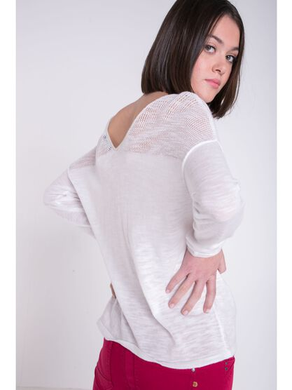 sweat col arrondi dos en v femme cintre white