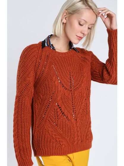 pull col rond maille ajouree orange fonce