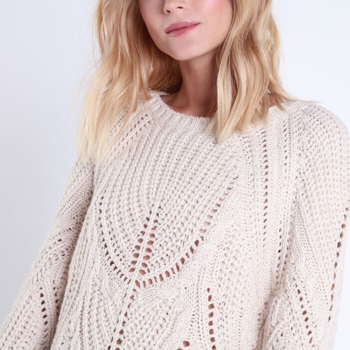 Pull col rond maille ajourée beige femme