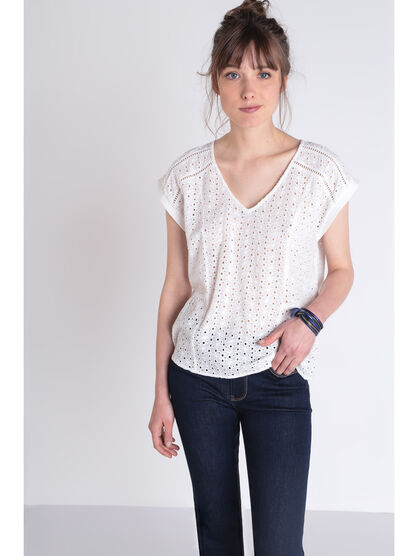 Blouse manches courtes brodee blanc femme