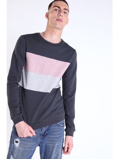 tricot coupe droite homme col rond gris fonce