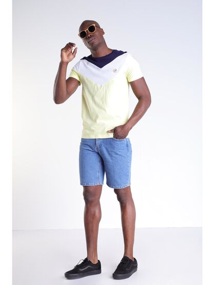 T shirt tricolore col rond jaune fluo homme