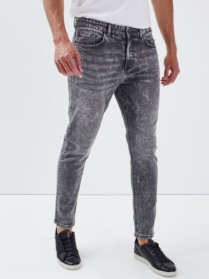 Jeans tapered eco responsable denim gris homme