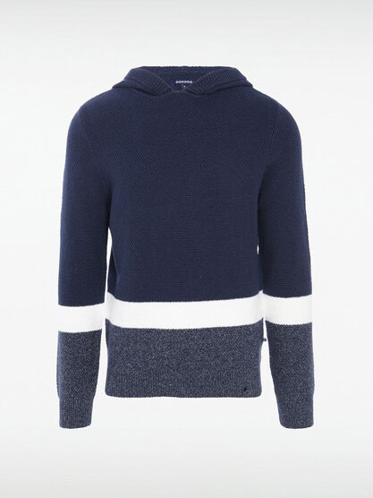 Pull manches longues capuche bleu marine homme