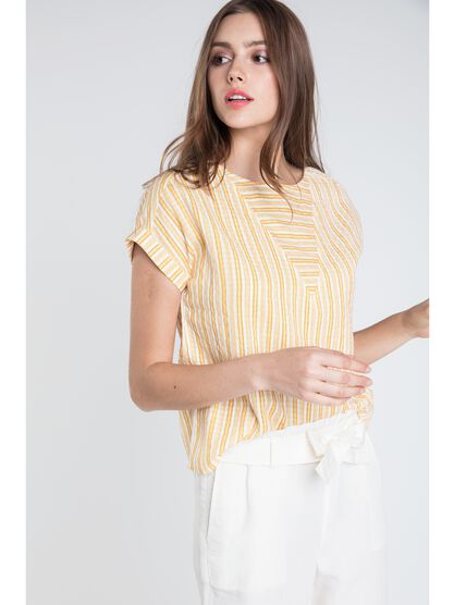 blouse col rond femme rayures colorees jaune