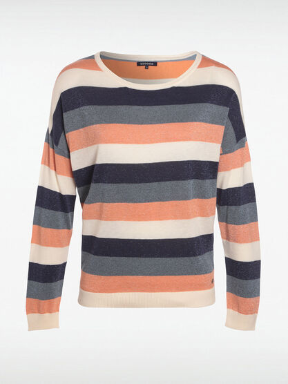 Pull manches longues col rond bleu fonce femme