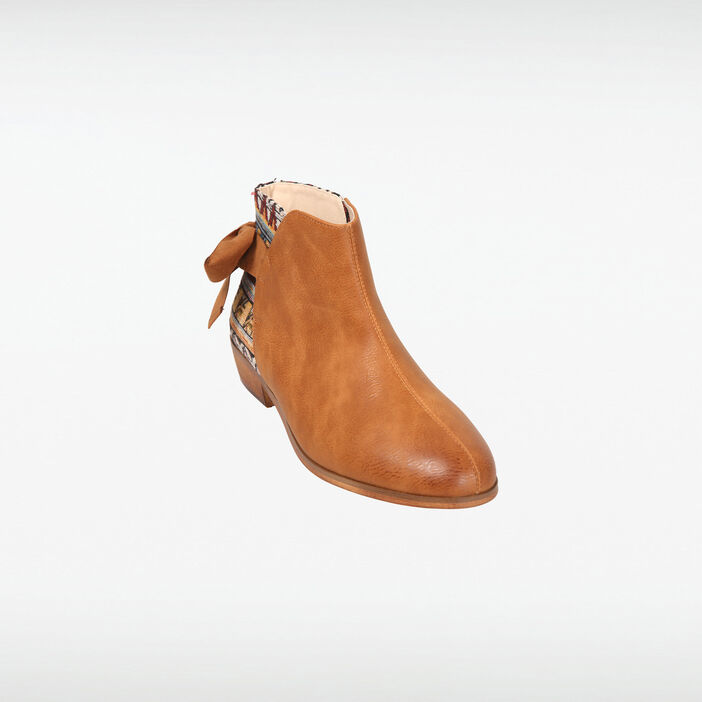 Bottines à talon bimatière marron femme