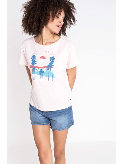 t shirt col rond femme motif los angeles rose clair
