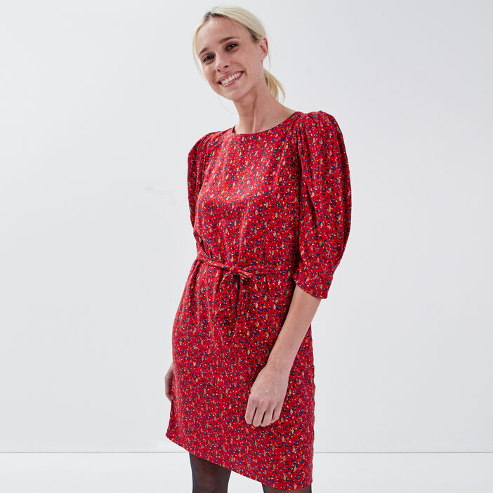 Robe droite manches gigots rouge femme