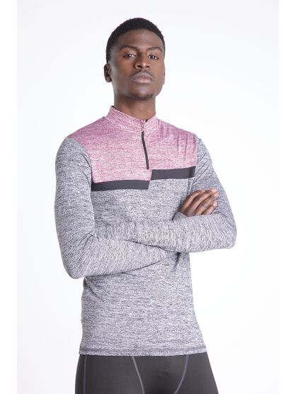 pull manches longues col zippe gris fonce