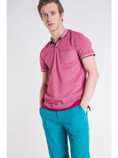 polo col a motif homme liseres rose cerise