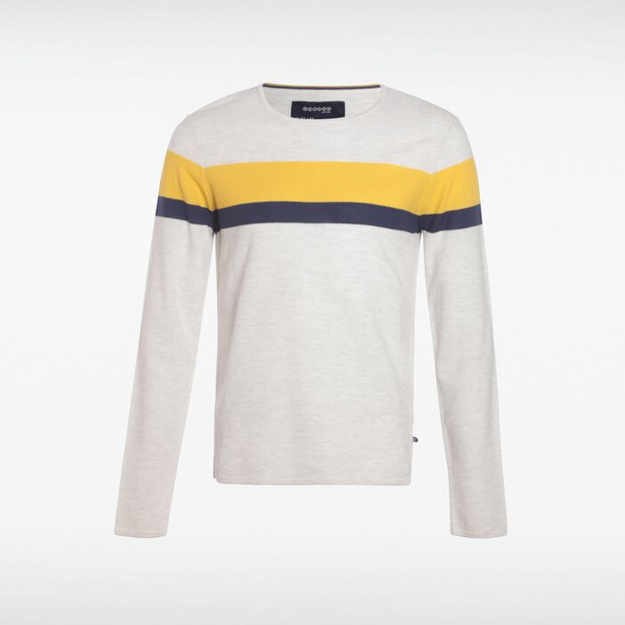 Pull col rond homme larges bandes ECRU