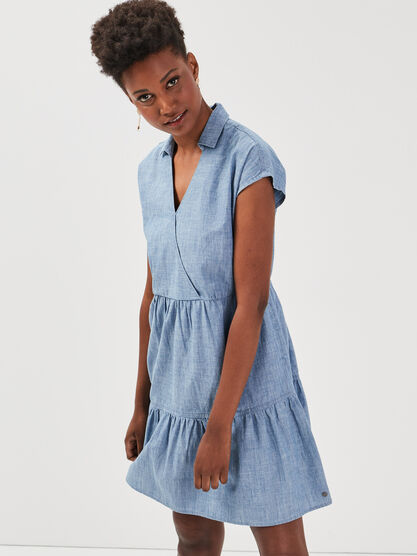 Robe evasee a volants en jean denim used femme