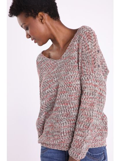 pull manches longues col en v rouge
