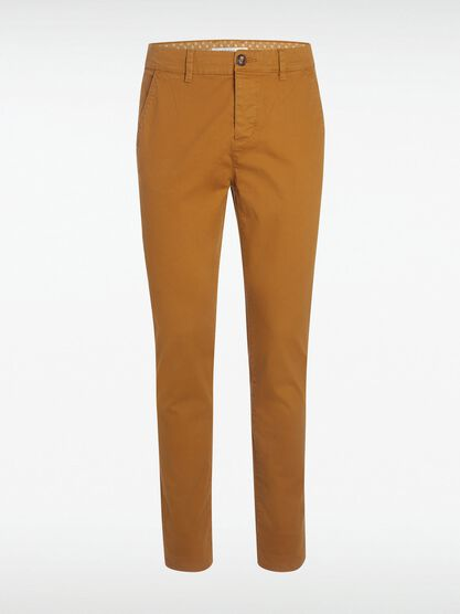 pantalon chino slim jaune moutarde