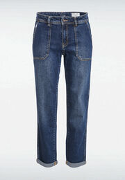 Jeans regular poches plaquees denim stone femme