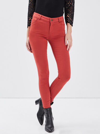 Pantalon skinny push up orange fonce femme