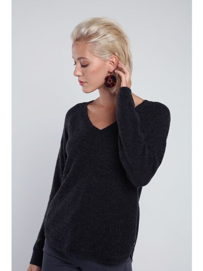 pull manches longues maille gris fonce
