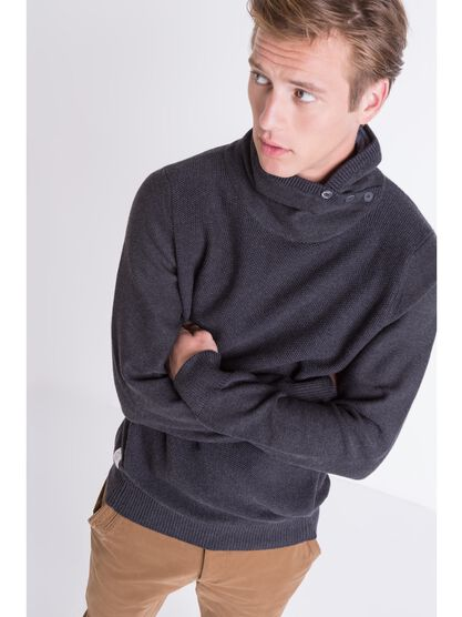 pull homme col montant bi matiere gris fonce