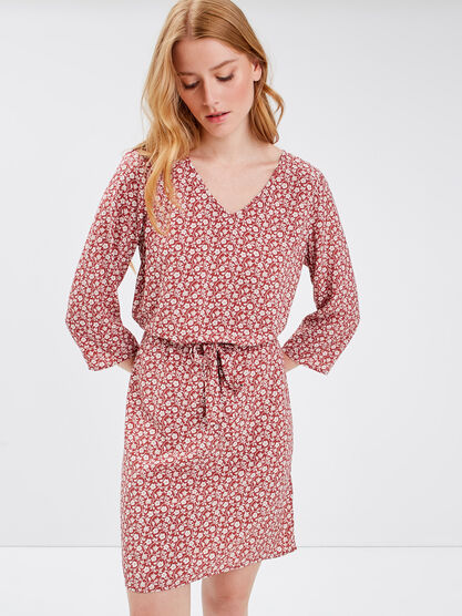 Robe droite manches 34 rouge clair femme
