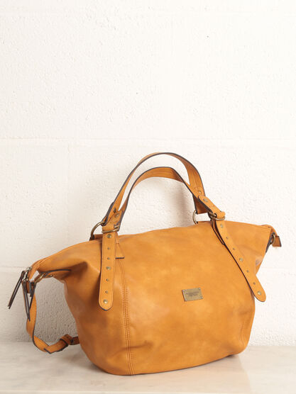 Sac bandouliere anses cloutees jaune or femme