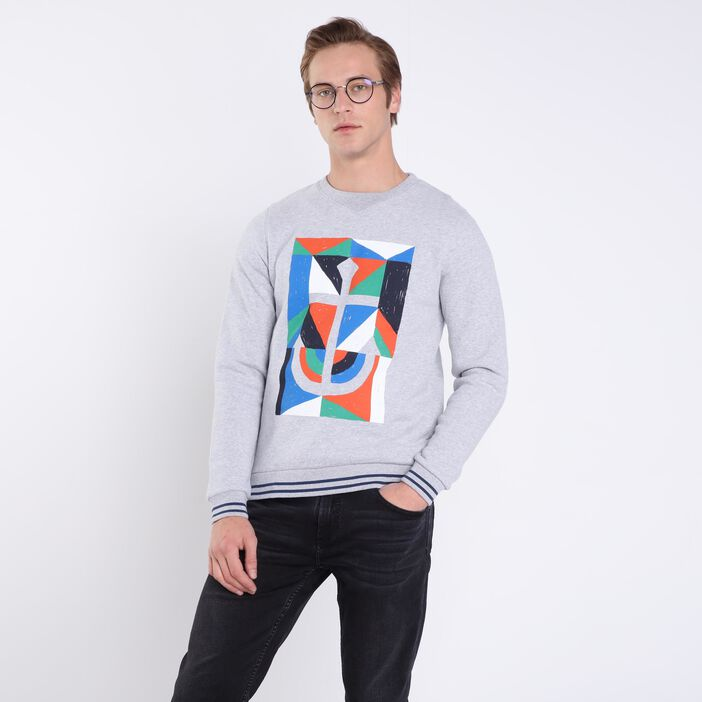 Sweat manches longues col rond gris clair homme