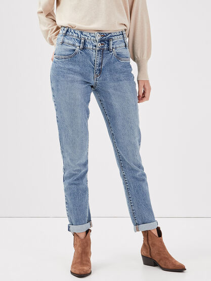 Jeans regular taille haute denim used femme