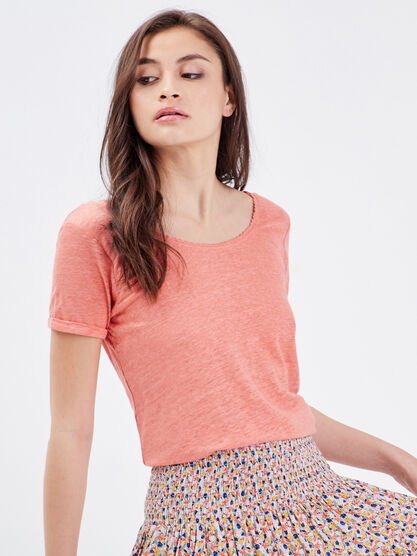 T shirt eco responsable rose corail femme