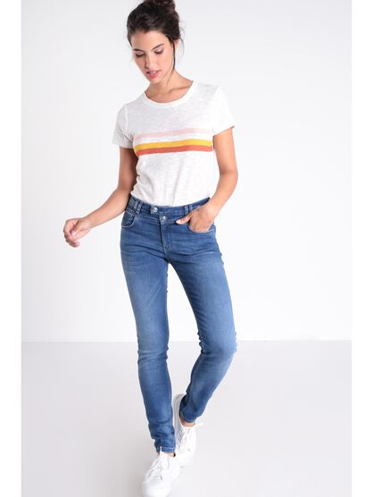Jeans skinny a 2 boutons denim stone femme