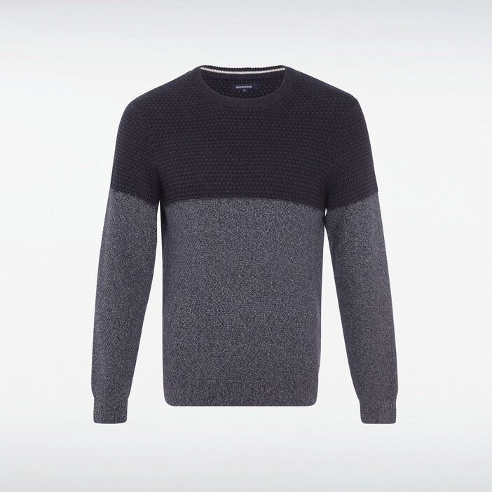 Pull manches longues col rond bleu marine homme
