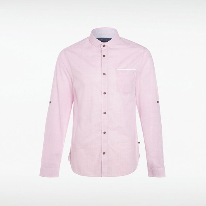 Chemise col italien homme chambray ROSE CERISE
