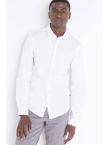 Chemise super slim col simple blanc homme