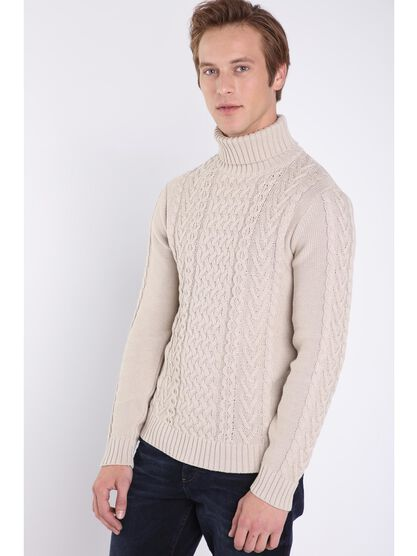 pull manches longues beige