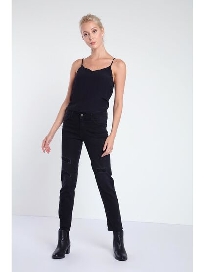 pantalon regular femme destroy denim noir