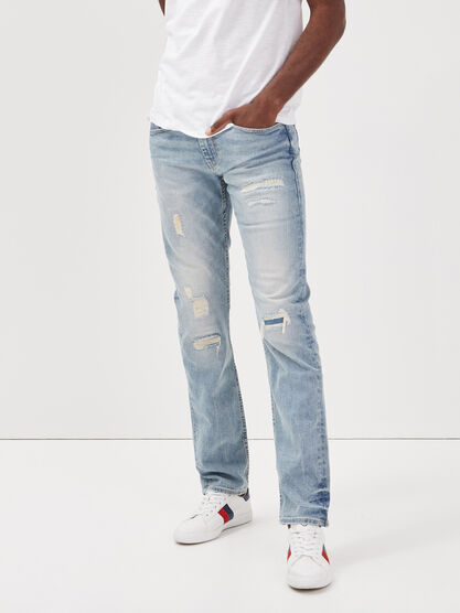 Jeans straight effet destroy denim bleach homme