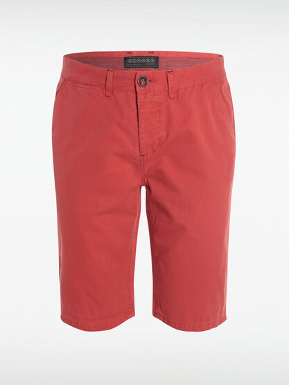 Bermuda chino droit coton rouge homme