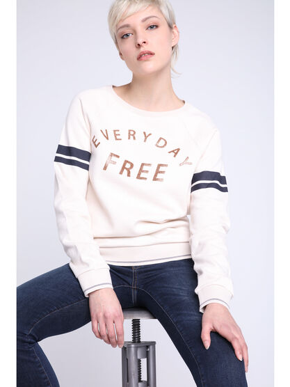 Sweat a message ecru femme