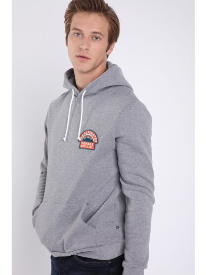Sweat manches longues patch gris homme