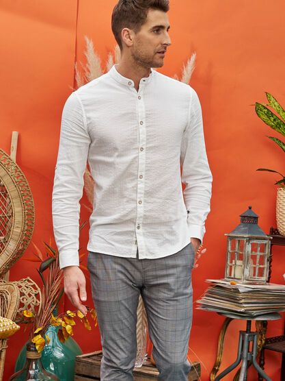 Chemise manches longues blanc homme