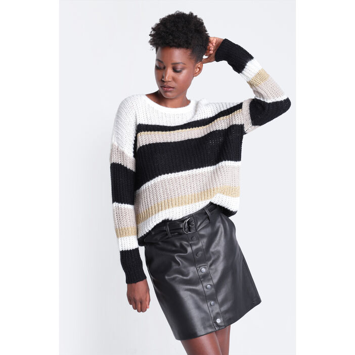 Pull manches longues col rond noir femme