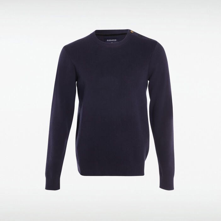Pull col rond boutons épaule bleu marine homme