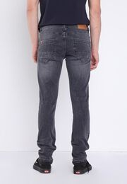 Jeans slim effet used denim snow gris homme