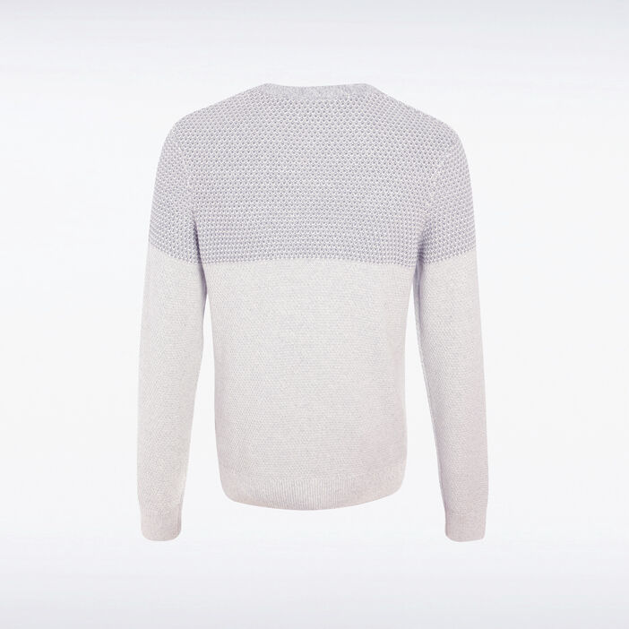 Pull manches longues col rond ecru homme